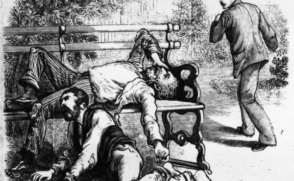 """Engraving from a series of images titled """"The Great Yellow Fever Scourge — Incidents Of Its Horrors In The Most Fatal District Of The Southern States."""""""