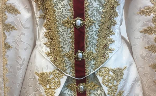 Ellis Greer stitched this costume for the Utah Shakespeare Festival's 2019 production of Hamlet. A survey found 95% of artists like Greer have experienced income loss as a result of COVID-19.