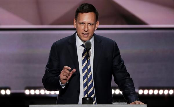 Peter Thiel, co-founder of PayPal, delivers a speech during the final evening session of the Republican National Convention.