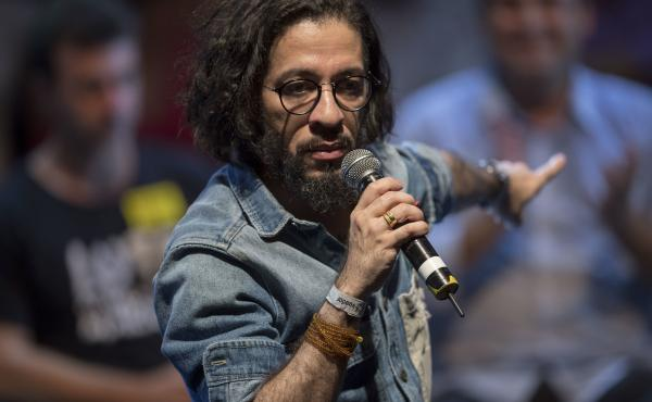 Jean Wyllys, pictured here at an April 2018 rally in Rio de Janeiro, reportedly was Brazil's first congressman to campaign on an LGBT-rights platform.