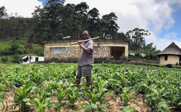 Ed Mabaya on his parents' farm in Zimbabwe.