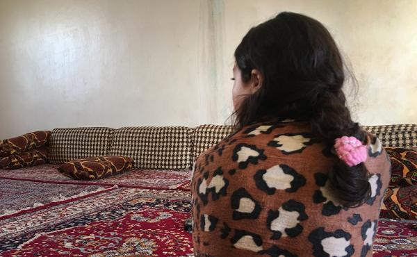 """Jeelan, 11, the day after being rescued from an ISIS family who had held her captive for the past two years. She says she doesn't remember her Yazidi family. """"I want to go back to Um Ali,"""" she says, referring to the Iraqi woman who had been pretending to"""