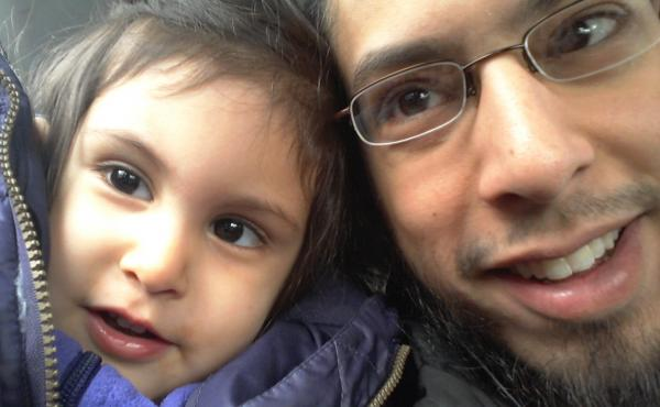 """Danisch Farooqi with his daughter, Aaliya, in Hamburg, Germany, when she was around 2 years old. """"I haven't seen her in five years,"""" he says. He wonders if she has forgotten him."""