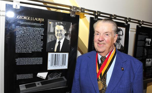 George Laurer in 2011 at the University of Maryland's Innovation Hall of Fame. His many inventions, including the Universal Product Code, led to his induction into the hall in 1991.