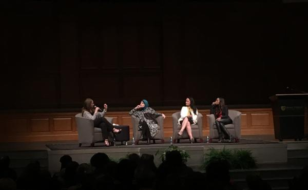 Moderator Dr. Melissa Harris-Perry and Women's March Co-Chairs (from left to right) Linda Sarsour, Carmen Perez, and Tamika D. Mallory. Credit: Briana Brough