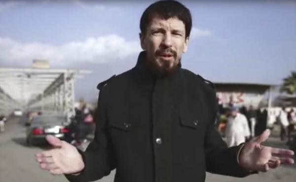 British photojournalist John Cantlie is seen in this video image released in December 2016 in what appeared to be central Mosul, Iraq. He was abducted by the Islamic State in 2012.