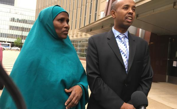 """Three Somali-American men accused of plotting to join the Islamic State are on trial in Minneapolis. Fadumo Hussein (left) is the stepsister who reared one of the defendants, Guled Omar. She calls him her son and says, """"we are not terrorists."""" Sadik Warfa"""
