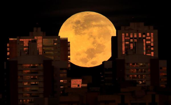 A lunar eclipse is observed Wednesday in Brasilia, Brazil.