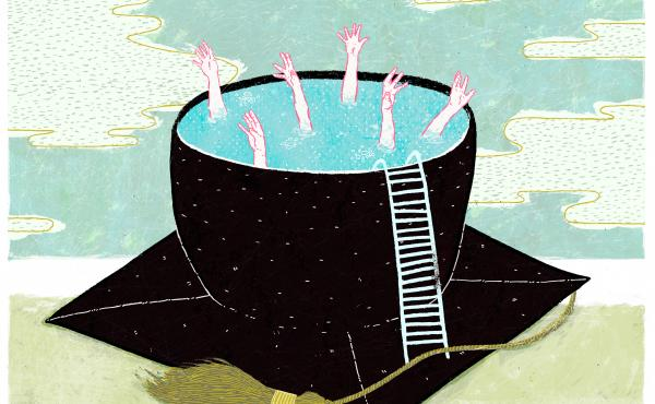 An illustration depicting college graduates drowning in a mortarboard cap full of water.