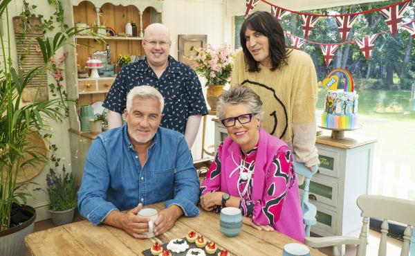 Comedian Matt Lucas — top left — joins cohost Noel Fielding and judges Paul Hollywood and Prue Leith in the tent for the new series of The Great British Baking Show (as it's known in the U.S.)