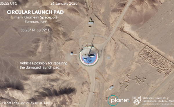 A satellite image taken Sunday shows vehicles on the circular launch pad at the Imam Khomeini Space Center in northern Iran.