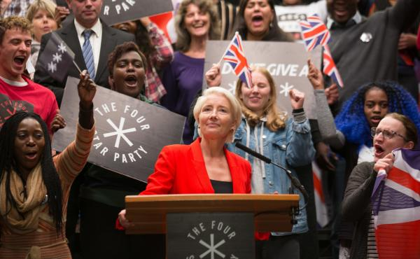 Emma Thompson plays Vivienne Rook, a plain-speaking businesswoman turned populist politician, in the HBO series Years and Years.