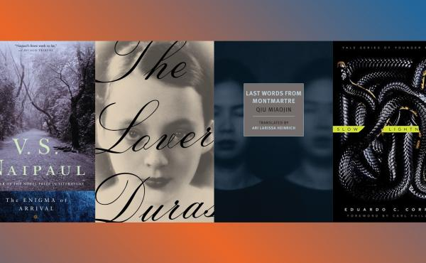 The Enigma of Arrival, by V.S. Naipaul, The Lover, by Marguerite Duras, Last Words from Montmartre, by Qiu Miaojin and Slow Lightning, by Eduardo Corral