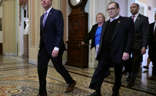 L-R: Rep. Adam Schiff, Rep. Zoe Lofgren, Rep. Jerrold Nadler and Rep. Hakeem Jeffries head toward the Senate Chamber before the start of President Trump's impeachment trial Wednesday.