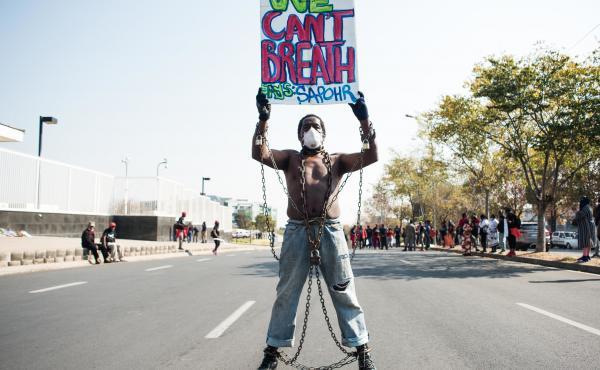 Members of Economic Freedom Fighters (EFF) protest against the death of George Floyd outside U.S. Consulate in solidarity with Black Lives Matter movement on June 8, 2020 in Sandton, South Africa.