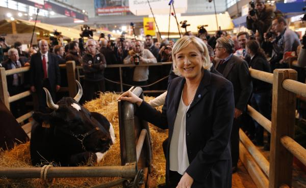 French far-right leader Marine Le Pen attends the 2017 Agriculture Fair on Tuesday in Paris.