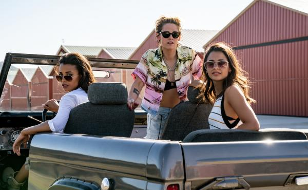 Elizabeth Banks directs the reboot of Charlie's Angel featuring Ella Balinska (from left), Kristen Stewart and Naomi Scott — and a whole bunch of wigs.