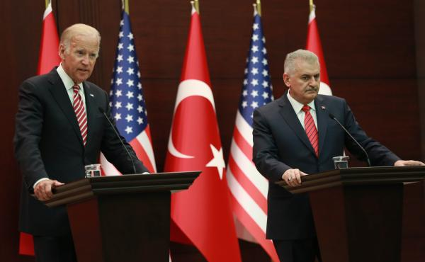 U.S. Vice President Joe Biden and Turkish Prime Minister Binali Yildirim hold a news conference after meeting Aug. 24 in Ankara, Turkey. While the U.S. and Turkey are close allies, they've been at odds on a number of issues, and the meeting was designed t