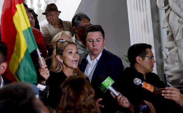 Senate second Vice President Jeanine Añez as she arrives to Congress in La Paz on Monday. She says she will lead the Senate after its president resigned, which could make her next in line for the presidency.