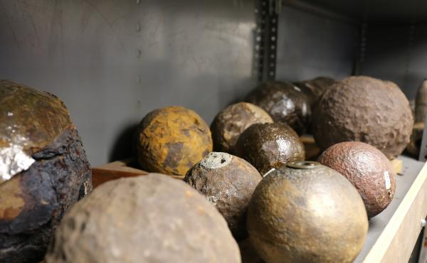 A row of recovered cannonballs in the Charleston Museum.
