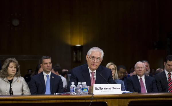 Former Exxon Mobil CEO Rex Tillerson testifies Wednesday during his confirmation hearing for U.S. secretary of state before the Senate Foreign Relations Committee in Washington, D.C.