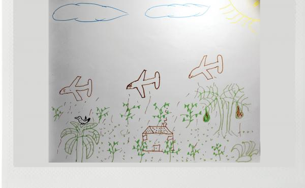A drawing made by a coca farmer shows his memory of government airplanes destroying his fields in 2005 as part of Plan Colombia, a U.S.-funded program to counter drug trafficking and insurgency.