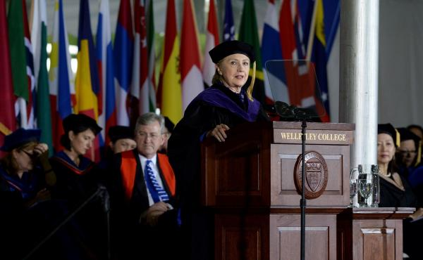 Hillary Clinton returns Friday to the commencement stage at Wellesley College, where, in 1969, she was the first student to speak to a graduating class.