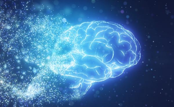 Artificial intelligence brain by particle form.