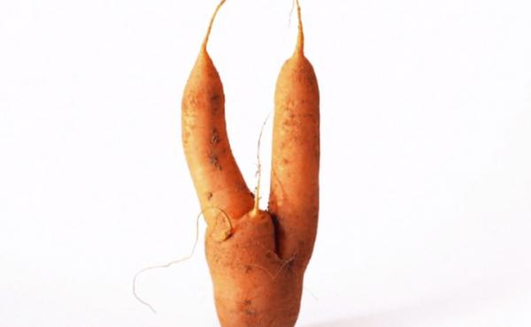 A still from the Intermarche campaign for ugly fruits and vegetables.