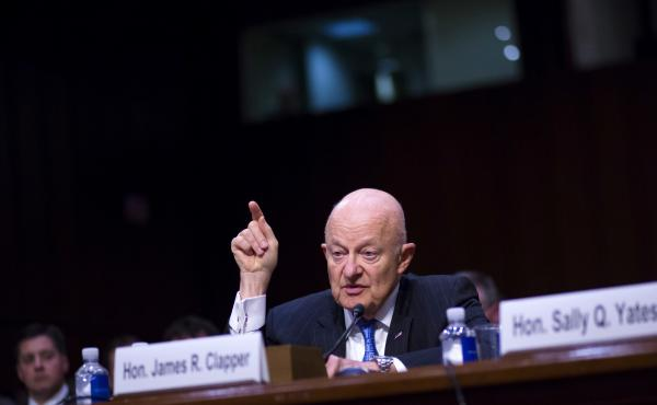 Former Director of National Intelligence James Clapper testifies about Russian interference in the 2016 election before a Senate Judiciary Committee subcommittee in May 2017.