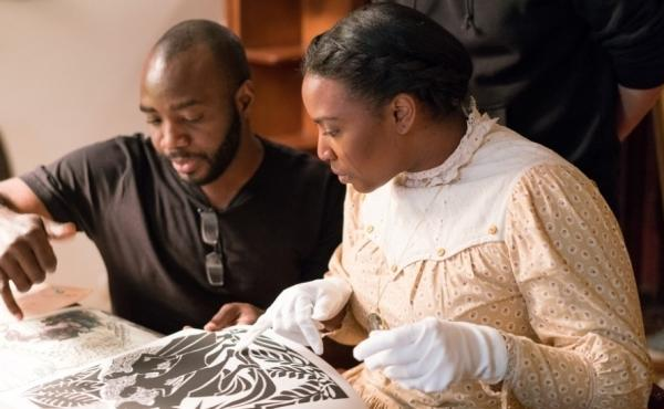Director Alrick Brown and actress Olivia Washington on the set of The Forever Tree.