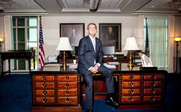 Secretary of Defense Ash Carter in his office at the Pentagon.