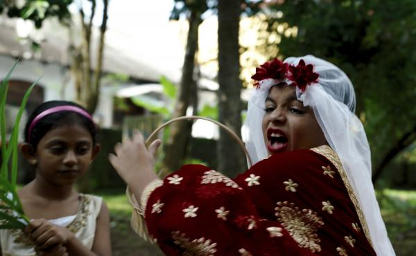 Arush Nand plays the young Arjie at his make-believe wedding in Funny Boy.