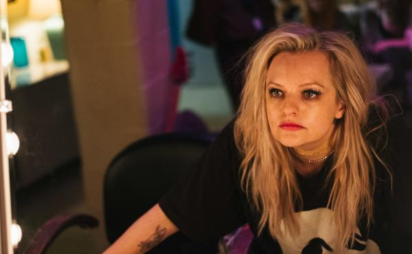 """Elisabeth Moss plays Becky Something, a punk singer struggling with substance abuse, in the new film Her Smell. """"It was the hardest dialogue I've ever had to learn,"""" she says."""