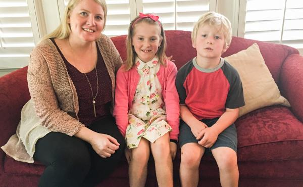 Tracy Smith, 38, and her children Hazel, 8, and Finley, 5, at their home in Houston. Smith is pregnant with twins and says she's a little more worried than usual about the approach of mosquito season.