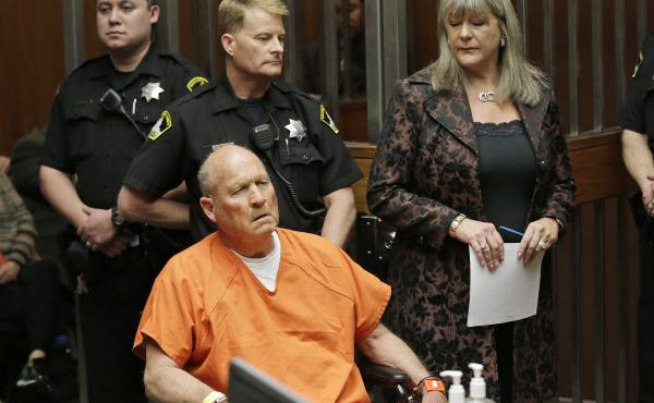 Joseph James DeAngelo, 72, who authorities suspect is the so-called Golden State Killer responsible for at least a dozen murders is arraigned in Sacramento, Calif., on Friday.