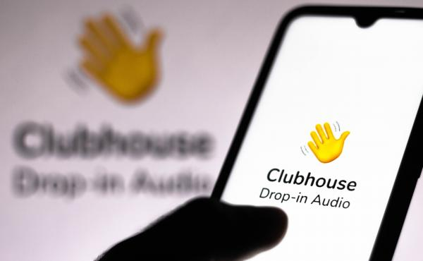 In this photo illustration, the Clubhouse logo is displayed on a smartphone screen. Most Iranians don't have iPhones but an unofficial, Android-friendly version is growing popular in the country.