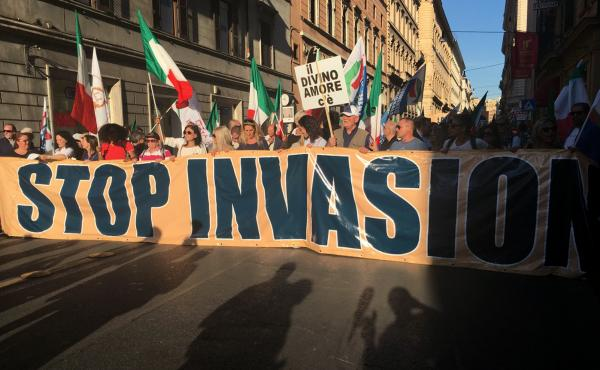 Several thousand Italians marched in an anti-migrant rally in Rome in October.