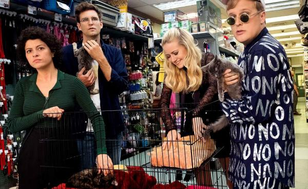 The Search is Over, The Party's Just Begun: Dory (Alia Shawkat), Drew (John Reynolds), Portia (Meredith Hagner) and Elliott (John Early) go shopping for human empathy in the TBS series Search Party.