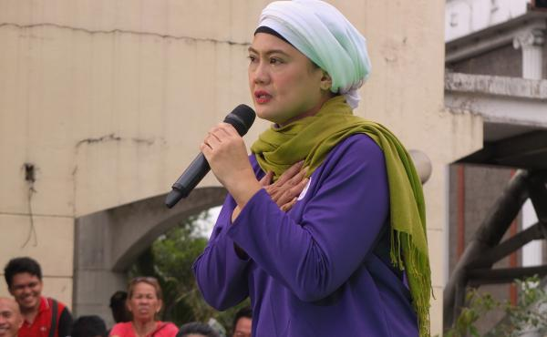 Philippine senatorial candidate Samira Gutoc speaks at a campaign event in Caloocan, Philippines.