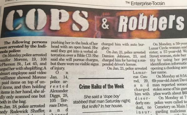 """A shot of the crime haiku, smack in the middle of the popular """"Cops and Robbers"""" section of The Enterprise-Tocsin."""