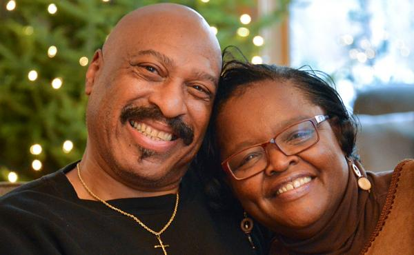 """Ed Roy, 63, and Mary Johnson-Roy, 64, were married in 2015. Both had sons die. """"I'm grateful to have someone there that has experienced the same thing I have,"""" Mary tells Ed at StoryCorps in Minneapolis."""