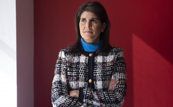 Former Ambassador to the U.N. Nikki Haley's repeated pledges of allegiance to Trump in her new memoir, With All Due Respect, may surprise those who thought Haley had left the administration halfway through her term as some sort of protest. Here, Haley is