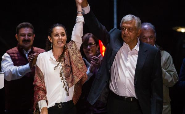 "Claudia Sheinbaum, the leading candidate for mayor of Mexico City and Andres Manuel Lopez Obrador, the frontrunner for president, attend the final event of the 2018 campaign in Mexico City on Wednesday. ""Just because I might look like a skinny scientist d"