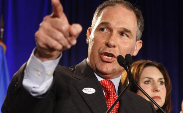 Scott Pruitt speaks on election night 2010, after his successful campaign for Oklahoma attorney general. When Pruitt assumed office, he also took control of the state's case against the poultry industry.