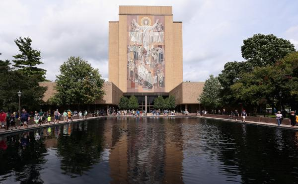 Hesburgh Library is seen at the University of Notre Dame in South Bend, Ind., in 2014.