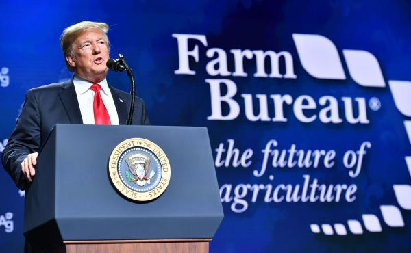 President Trump addresses the annual American Farm Bureau Federation convention in New Orleans on Monday.