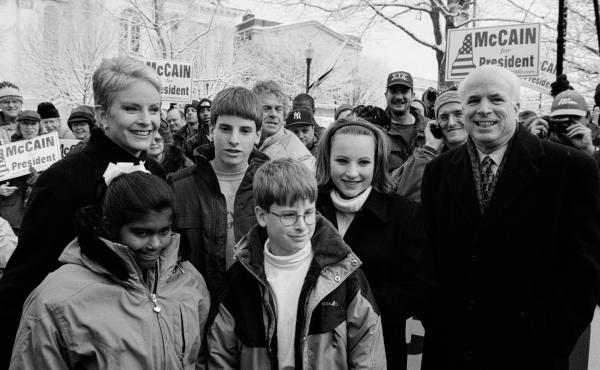 John McCain attends a rally in the park on Jan. 31, 2000 in Keene, NH, with his family (from left to right) daughter Bridget (8), wife Cindy, sons Jack (13) and Jimmy (10), and daughter Meghan (15).