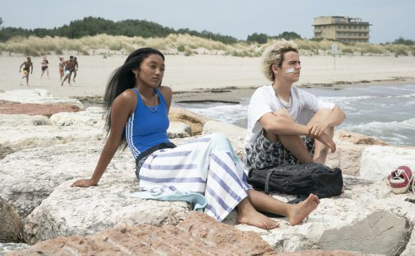 Caitlin (Jordan Kristine Seamon) and Fraser (Jack Dylan Grazer) see the sea in We Are Who We Are.