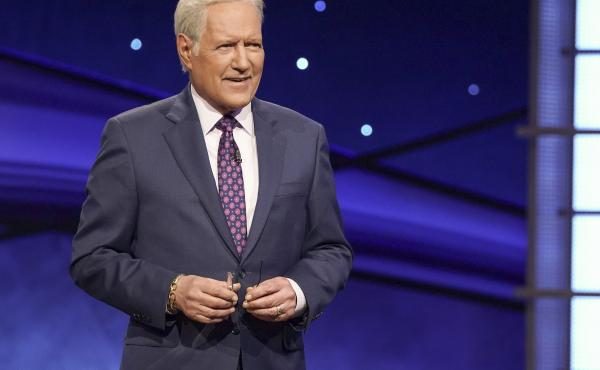 Alex Trebek on the set of Jeopardy! on Dec. 19, 2019.